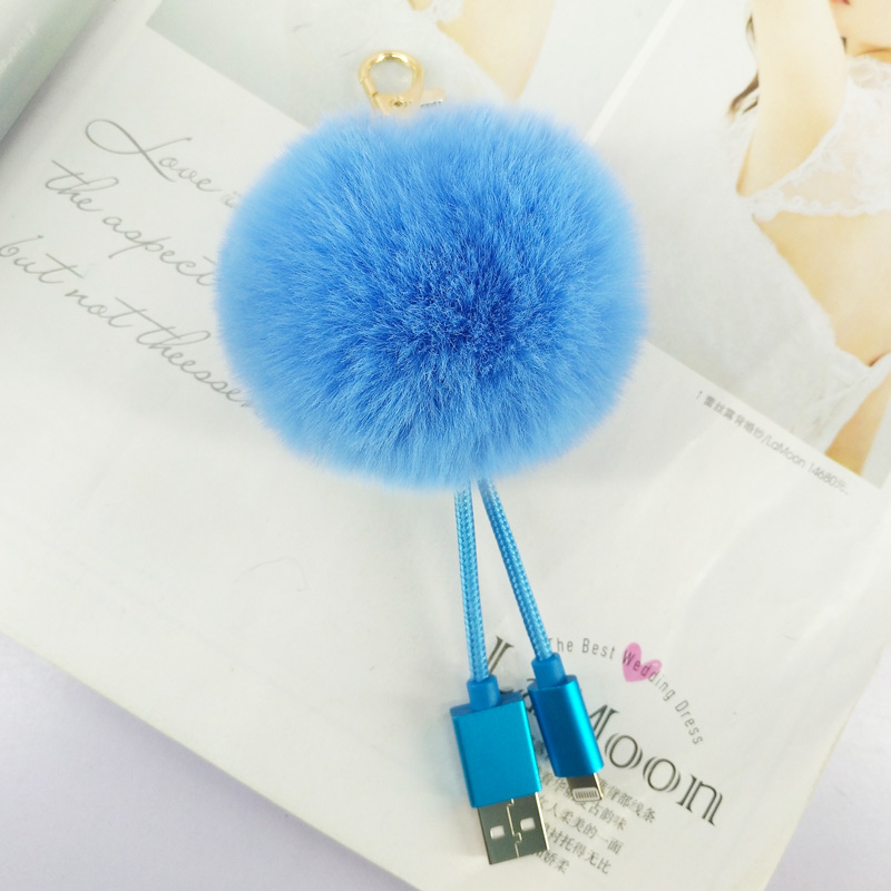 Protable USB Puffy Ball Key Chains Handmade Pompom Ball Pendant Jewelry Charms Keyring Bag Decor Ornament Keychain New Year Gift