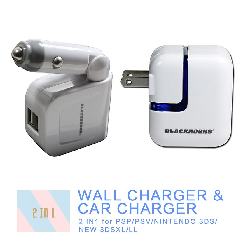 Free-shipping  Wall AC Adapter Charger Power Supply + Car Charger for Sony PSP/PSV , Ninteond 3DS/New 3DSXL/LL, All Smartphones