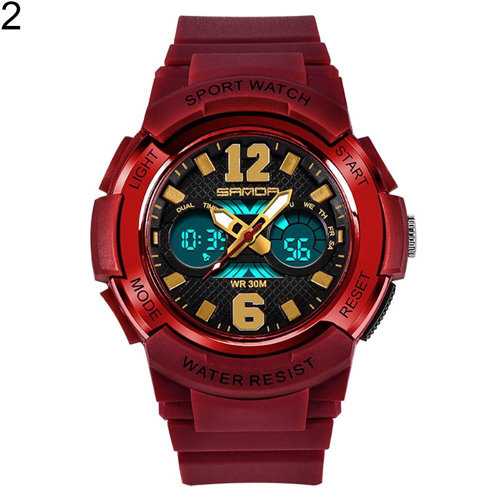 Модная детская одежда унисекс световой сигнализации Водонепроницаемый цифровой Дисплей Спорт Электроника наручные часы - Цвет: Красный