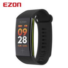 Relogio Masculino EZON Bluetooth Smart Wristband Bracelet Fitness Tracker Color Screen Heart Rate Monitor Pedometer Smartband x9 bluetooth 4 0 heart rate monitor smartband tpu strap black