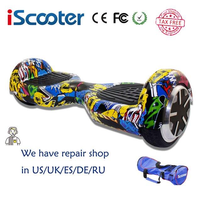 Hoverboard Бесплатная Доставка Красочный iScooter 2 Колеса самостоятельно Баланс Электрический скутер с LED 7 дюймовый Смарт-рулевого колеса Скейтборда