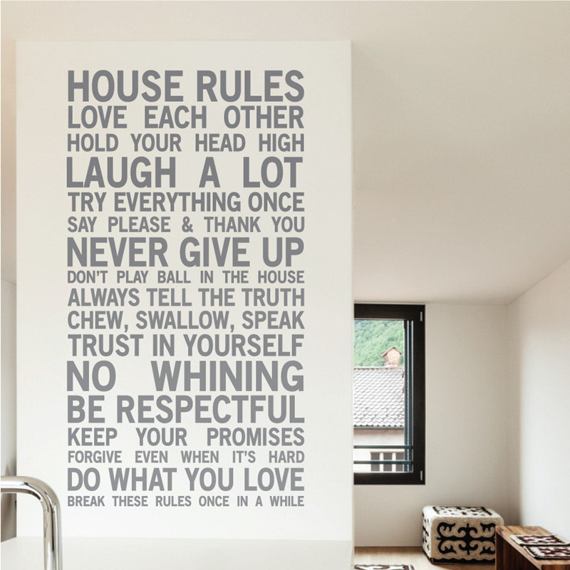 House Rules Wall Stickers Home Decor Family Quote Wallpaper Vinyl