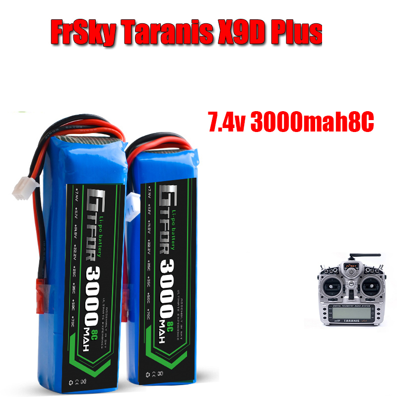 GTFDR POWER RC <font><b>Lipo</b></font> <font><b>Battery</b></font> <font><b>7.4V</b></font> <font><b>3000MAH</b></font> 8C <font><b>Battery</b></font> for FRSKY X9D PLUS RC Transmitter Remote Control <font><b>Battery</b></font> image