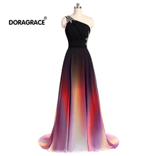 Doragrace robe de soiree A-Line Lace-Up One-Shoulder Beaded Gradient Chiffon Long Evening Dresses