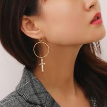 Round Stud Earrings Cross Geometric Fashion Punk Simple For Women Jewelry Pendant Long Metal Earring Modern