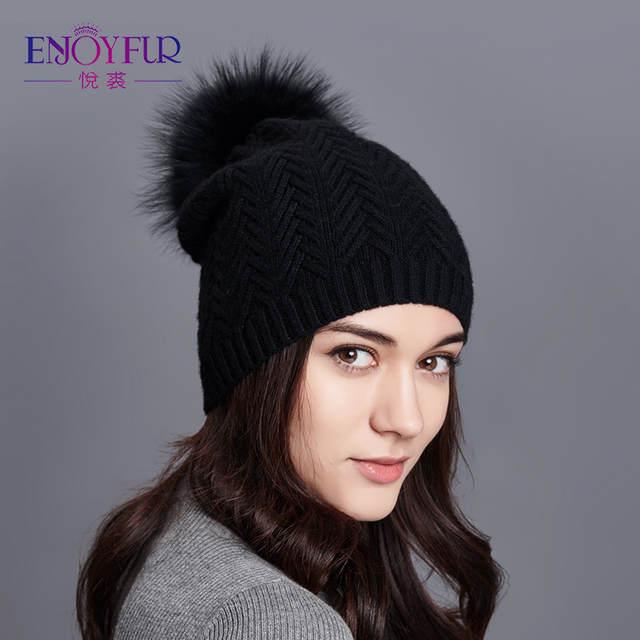3168608a placeholder ENJOYFUR Women Winter Hats Real Raccoon Fur Pom Pom Hat Female  Wool Knitted Hat Girl Skullies