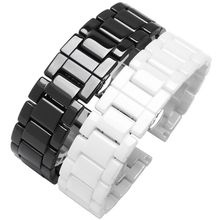 Pearl Ceramic Watch band 14mm 15mm 16mm 17mm 18mm 19mm 21mm 22mm Black White Female Replacement strap