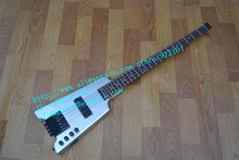 free shipping music instrument new headless electric bass in silver white +foam box F-1140