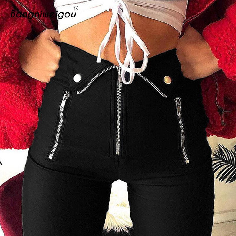 Bangniweigou Zipper Skinny Pencil   Capris     Pants   Women Black   Pants   Slim Trousers Solid Color Bottoms Trends 2019