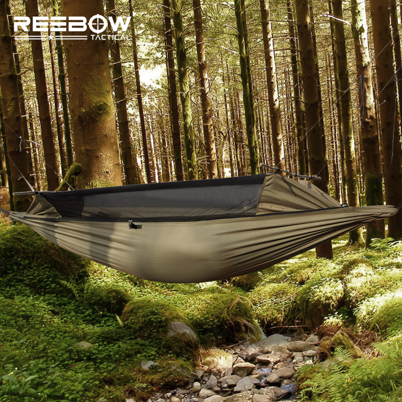 REEBOW TACTICAL Outdoor Survival Hammock Men Gauze Military Anti-insect Durable Stable Hammock with SBS Two-side Zipper outlife new style professional military tactical multifunction shovel outdoor camping survival folding spade tool equipment