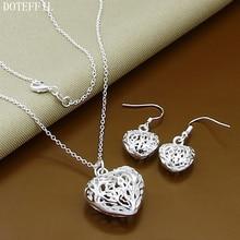 Hollow Heart Earrings Necklace 925 Silver Jewelry Set Earrings Necklace For Women Free Shipping