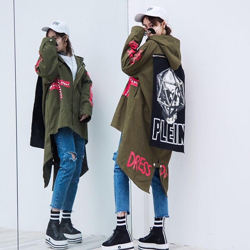 Tranchée Style Rivet Noir army Manteau Printemps Tendances Créateur Armée Green De Motif Et Femmes Crâne Vert Longue Lâche Bf Automne 2018 qnZ86w