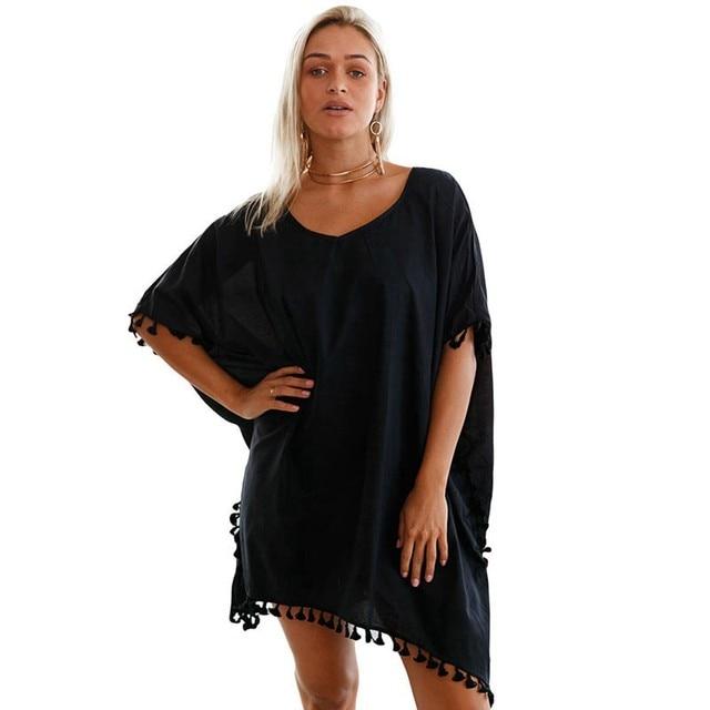 b1ba862209 Drop Ship Black Chiffon Beach Dress pareo playa Beach Cover up 2018  Swimwear Cover Ups Women Smock Bathing Suit saida de praia