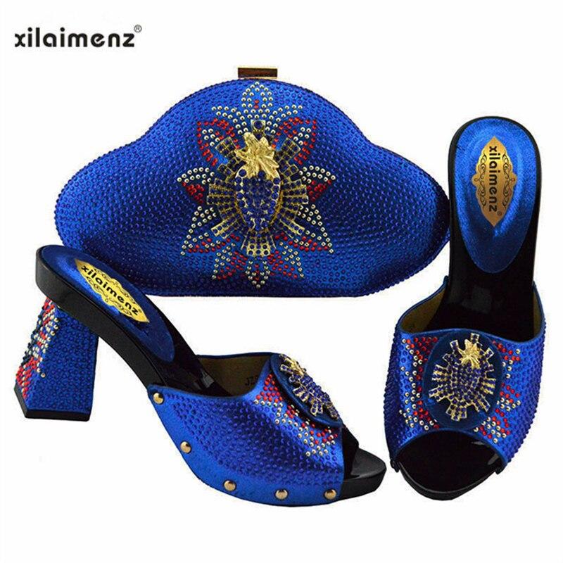 2019 nowy projekt włoski modne buty z pasująca torba zestaw do ślubu Party nigerii kobiety pompy buty i torby zestaw w Buty damskie na słupku od Buty na  Grupa 3