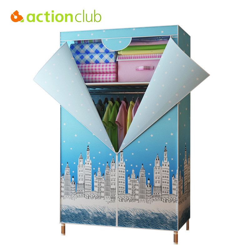 Actionclub Single Small Wardrobe Oxford Cloth Closet DIY Reinforcement 25MM Steel Pipe Cabinet Clothing Hanging Storage Closet 2pcs set stainless steel 90 degree self closing cabinet closet door hinges home roomfurniture hardware accessories supply