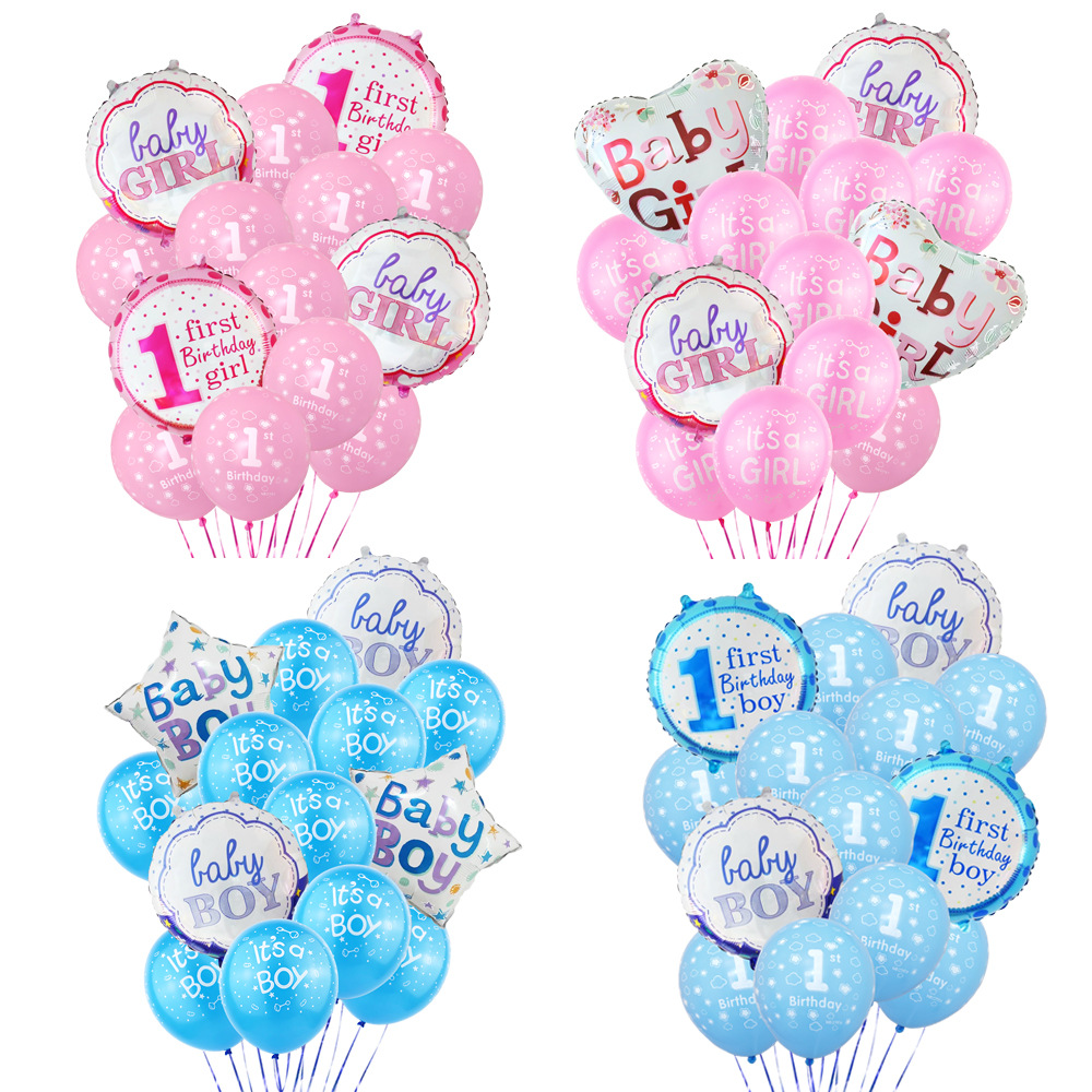 Hot Sale It is a girl/boy Balloon Package Baby One Year Birthday Celebration Combination Party Decoration