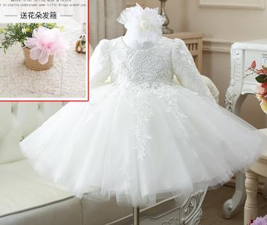 d846f1d913e2c Haute qualité hiver confort bébé filles à manches longues 1 an anniversaire  robe sequin baptême baptême robe de mariée pour bébé dans Robes de Mère et  ...