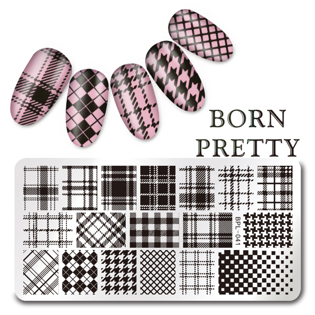BORN PRETTY 12*6cm Rectangle Nail Art Stamp Template Checked Design - stamp template