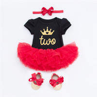Baby Second Birthday Clothes Crown Two Pattern Infant Clothing 4PCS Sets Bebe Tutu Dress Outfit Newborn Babies Costume Christmas