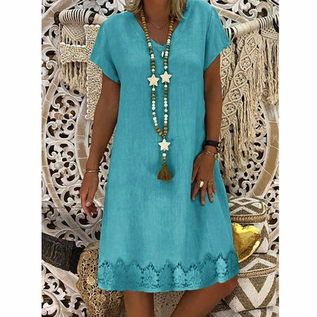 Модное летнее платье для женщин Vestido 2019 хлопок Круглый вырез короткий рукав платье женское летнее пляжное платье сексуальное женское s Vestidos
