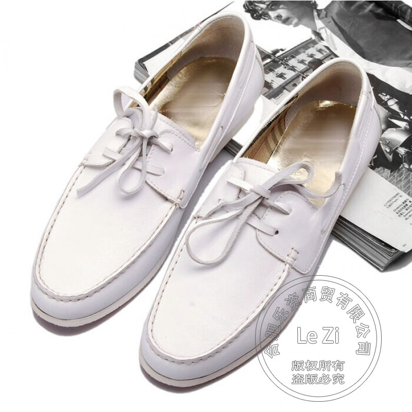 ФОТО Joker Soft Leather Western Cowhide Hippies Plain Model Boat Shoes Men Play Indispensable Flats Simple White Mixed Colors Casual