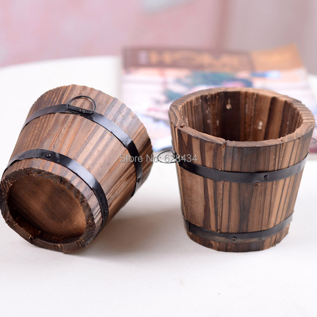 Us 959 Free Shipping Vintage Small Barrel Flower Pot Flower Basket Flower Garden Tub 015kg Crafts Wooden Wedding Home Decoration In Flower Pots