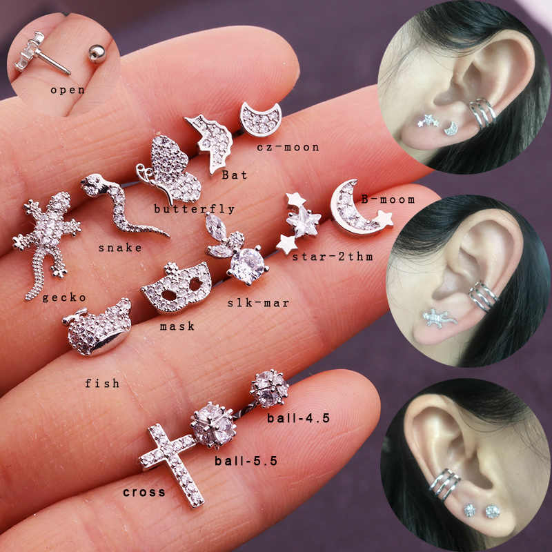 Sellsets 1piece tiny gecko snake stainless steel barbell cz piercing jewelry crystal animal tragus helix cartilage studs