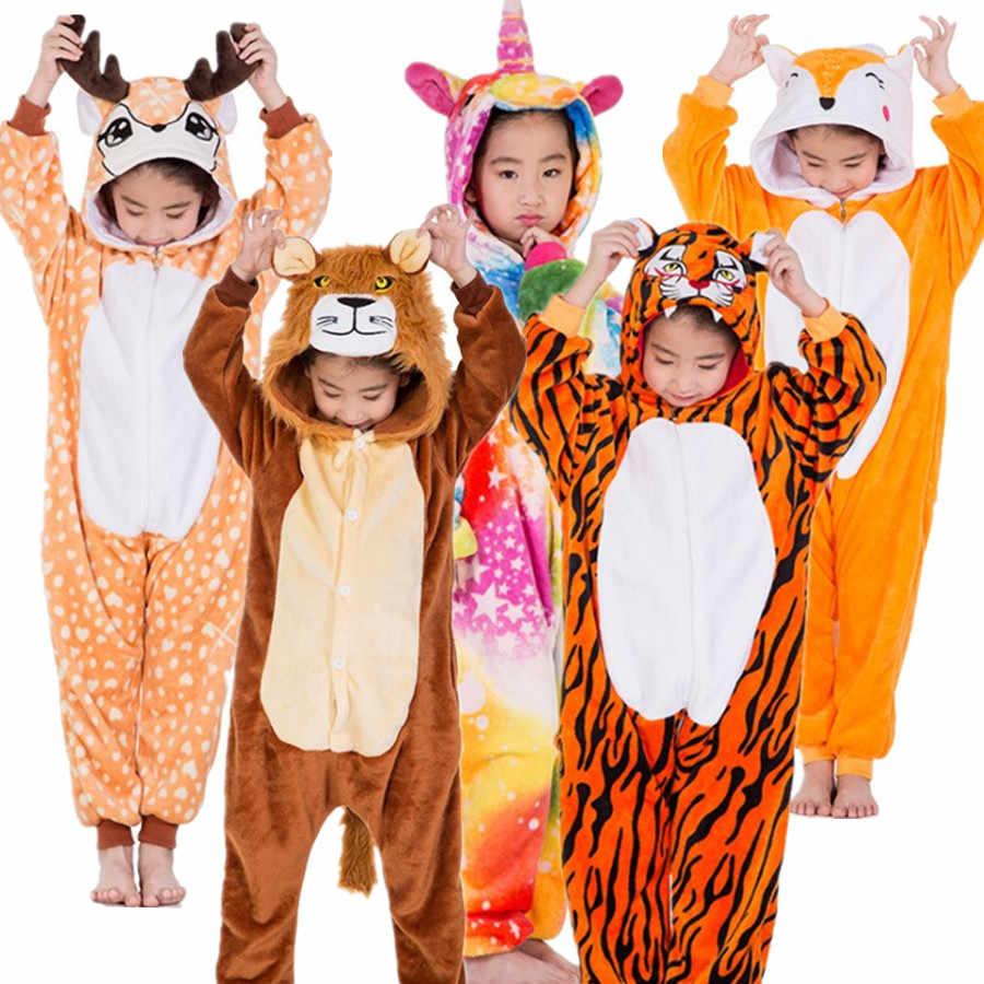 Детский фланелевый Костюм кигуруми с изображением оленя единорога тигра  льва лисы для костюмивечерние рованной вечеринки 043a47dee5b93