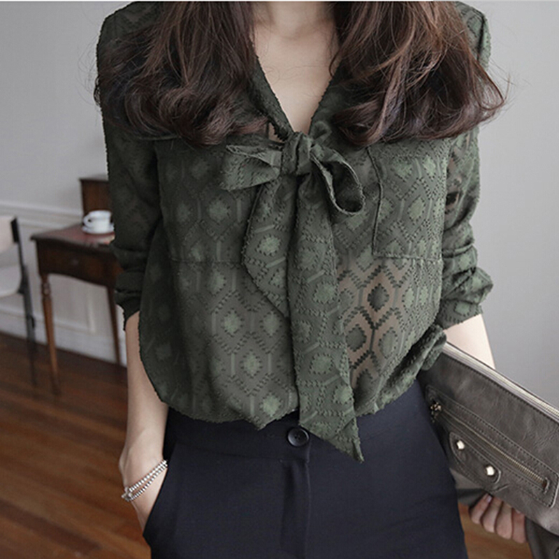 Korean 2017 Fashion Casual   Blouse     Shirts   Full Sleeve Bow Solid V-Neck Tops Green Ladies Office   Blouses   Work Wear Blusas