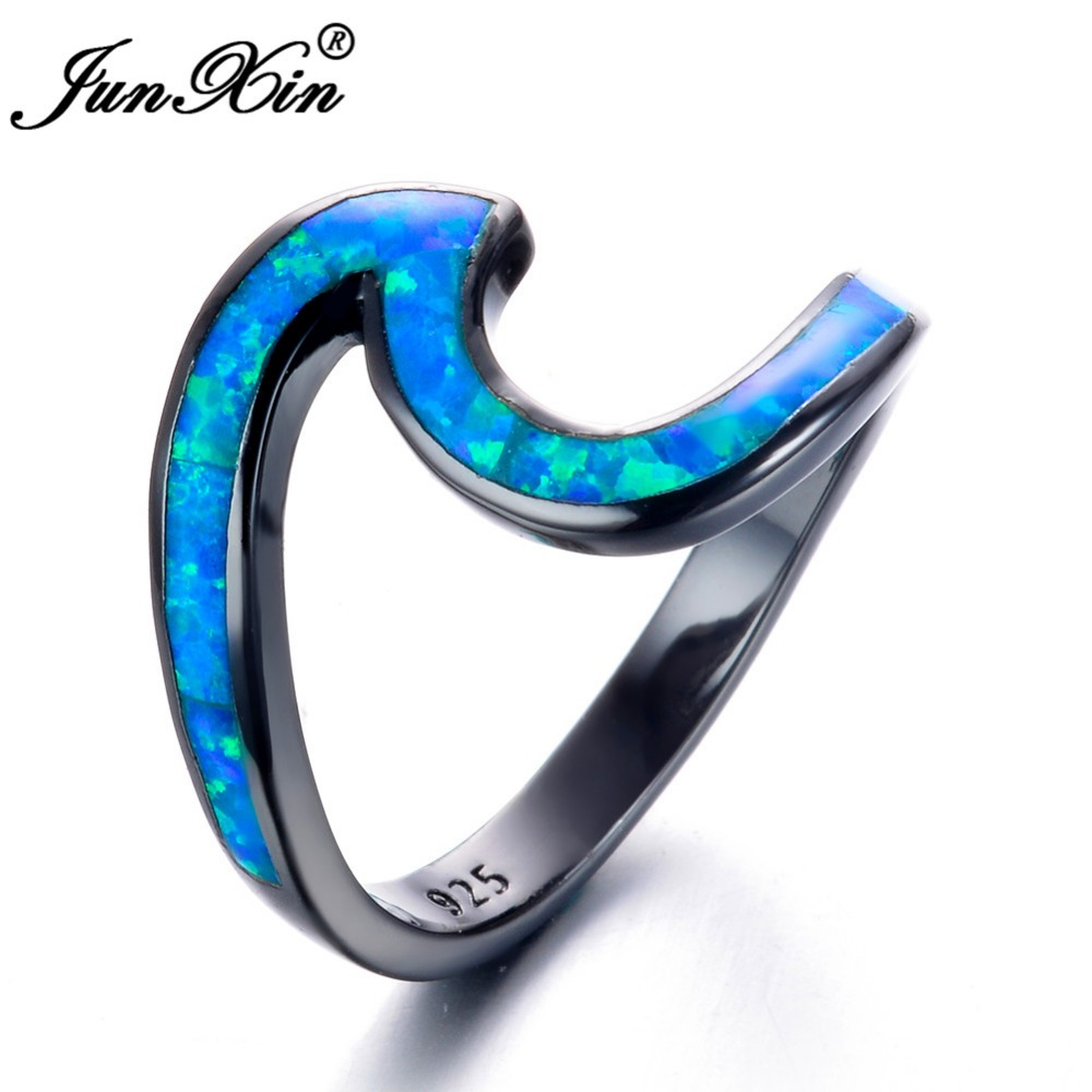 Black Opal Wedding Rings