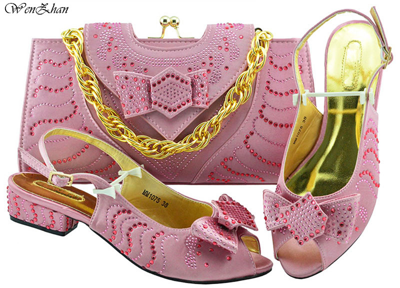 WENZHAN Pink 2018 African Women Shoes And Bag Set With Appliques Italian Soft Shoes With Matching Bag For Evening Party! B89-22WENZHAN Pink 2018 African Women Shoes And Bag Set With Appliques Italian Soft Shoes With Matching Bag For Evening Party! B89-22