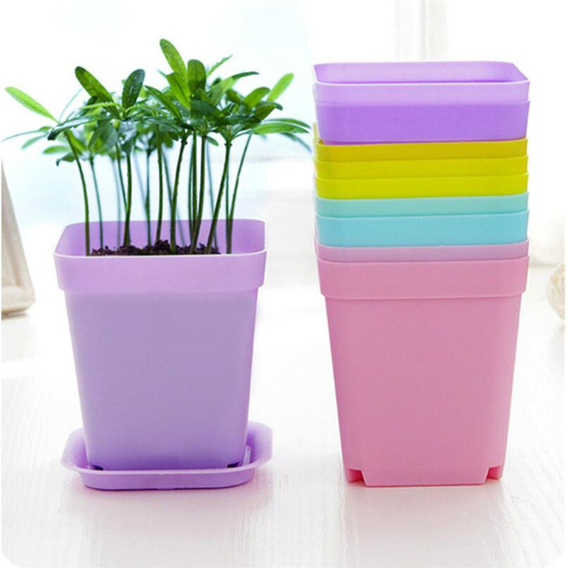 Planter with Saucer Tray Plant Pots Coloured Plastic Flower Pots VIOLET
