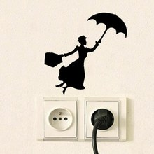 Cartoon Wings Girl Silhouette Switch Stickers For Kids Baby Room Girl Decal Nursery Wall Decor Climbing Light Switch Stickers(China)