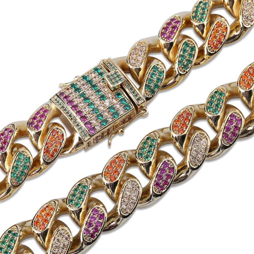 Image 3 - 18mm Width 4 Colors Personalized Mens Cuban Chain Necklace Iced  Out Bling AAA  CZ Stones Hip Hop Gold Silver Color Chain JewelryChain  Necklaces