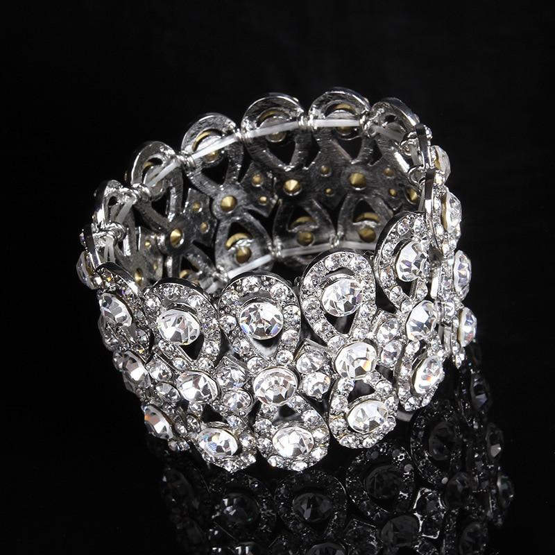 SLBRIDAL Art Deco Gümüş Renk Rhinestones Kristaller Streç - Kostüm mücevherat - Fotoğraf 3