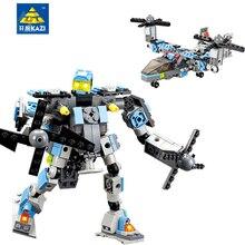 KAZI 245Pcs  Robot Blocks Action Figure Building Blocks DIY Helicopter Model Building Bricks Toys