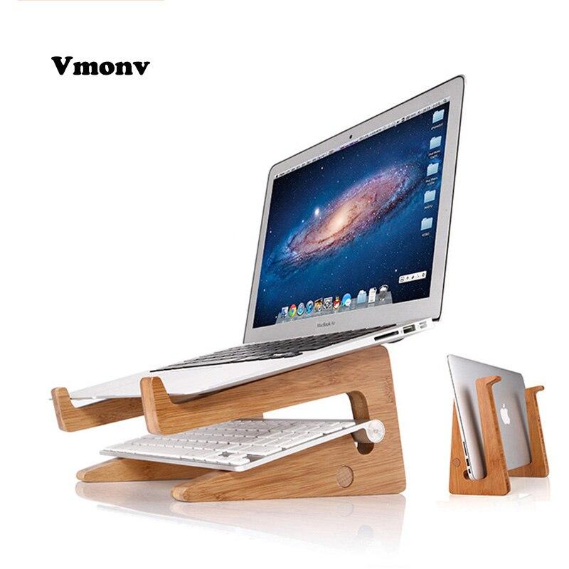 Vmonv Augmenté Hauteur De Refroidissement Bambou Ordinateur Portable PC Stand pour Macbook Air Pro Retina Vertical Base Support pour 15 pouce Portable PC