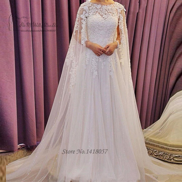 Arabic Wedding Dresses Long Cloak Vintage Lace Wedding Gowns Dubai