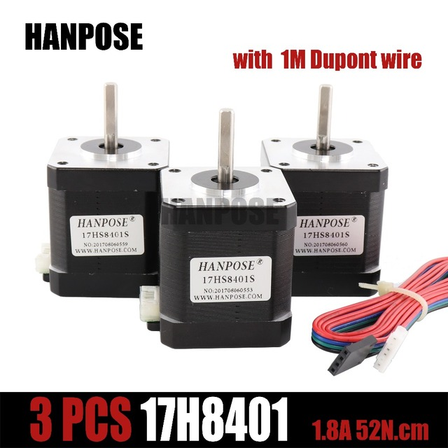 3pcs 17HS8401S 4-lead Nema17 Stepper Motor 42 motor Nema 17 motor 42BYGH 1.8A motor with DuPont line For 3D printer