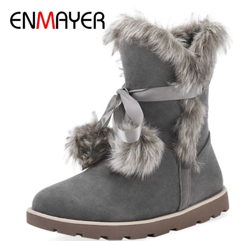 ENMAYER New Mao Ball Charms Shoes Woman Large Size 34-43 Fashion Light tan Ankle Boots for Women Falts Winter Warm Snow Boots enmayer hot new fashion round toe lace up flat ankle snow boots for women winter boots shoes large size 34 43 platform shoes