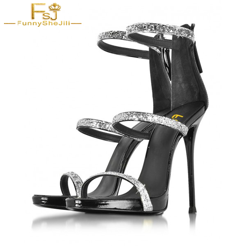 united states fashion top design US $54.6 30% OFF|2018 Summer Silver Glitter Crystal Shoes 4 Inches Stiletto  Heels Open Toe Sandals Solid Ankle Strap Mature Sexy Size 10 11 FSJ-in ...