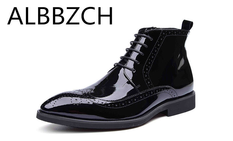 Luxury patent leather ankle boots men business dress sheos fashion wedding shoes mens leisure party work short boots pointed toe