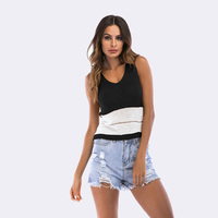 2018 Summer Tops For Women Casual Sleeveless Vest Sexy Hollow Out Splice Knitting Striped Tank Tops Women T Shirt