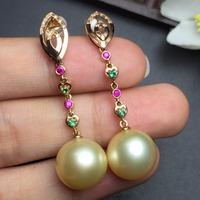 Fine Jewelry Real 18k Rose Gold AU750 100% Nature Golden Pearl Gemstone Female Earrings Fine Gift women earring