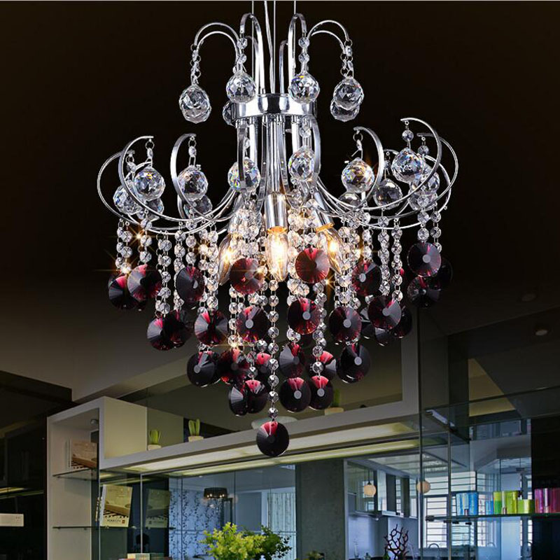 Modern minimalist living room crystal chandeliers creative restaurant LED home chandeliers lighting fixture led lamps E14 bulbs modern crystal chandelier hanging lighting birdcage chandeliers light for living room bedroom dining room restaurant decoration