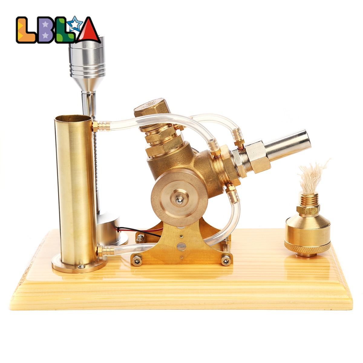LBLA Hot Air Stirling Engine Motor Model Educational Toy Kit Wood Base W/LED Light Educational Science Toy Gift For Children цена 2017