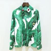 2017 Spring Summer Style Runway Designer Shirt Women S High Quality Long Sleeves Plantain Leaves Print