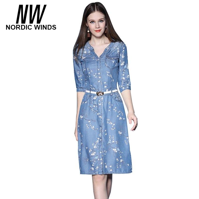 Nordic Winds Summer Denim Women Print Vestidos Dresses for