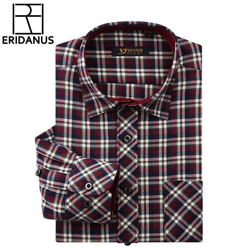 2017 Neue Marke Mode Flanell Shirts Mens Classic Langarm Plaid Prüft Regular Fit Sozialen Shirt Männer Chemise Homme X460 Tropf-Trocken