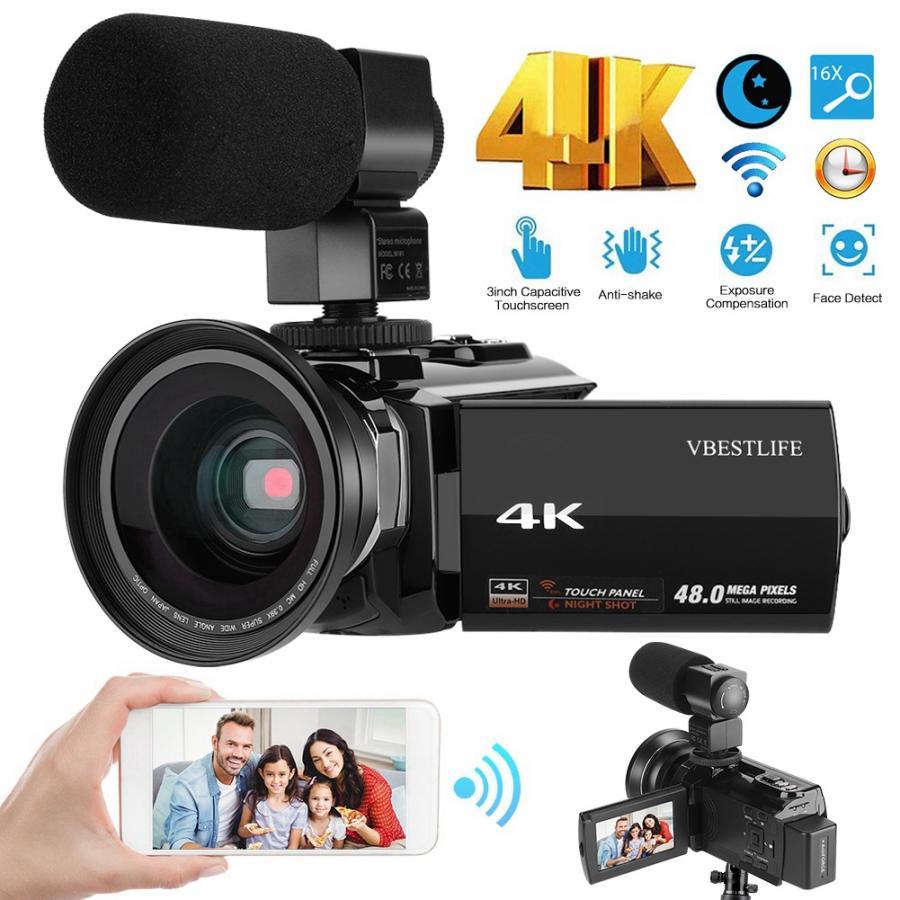 Caméscope d'appareil-photo numérique de WiFi de 4 K 48MP avec le grand Angle de 0.39X